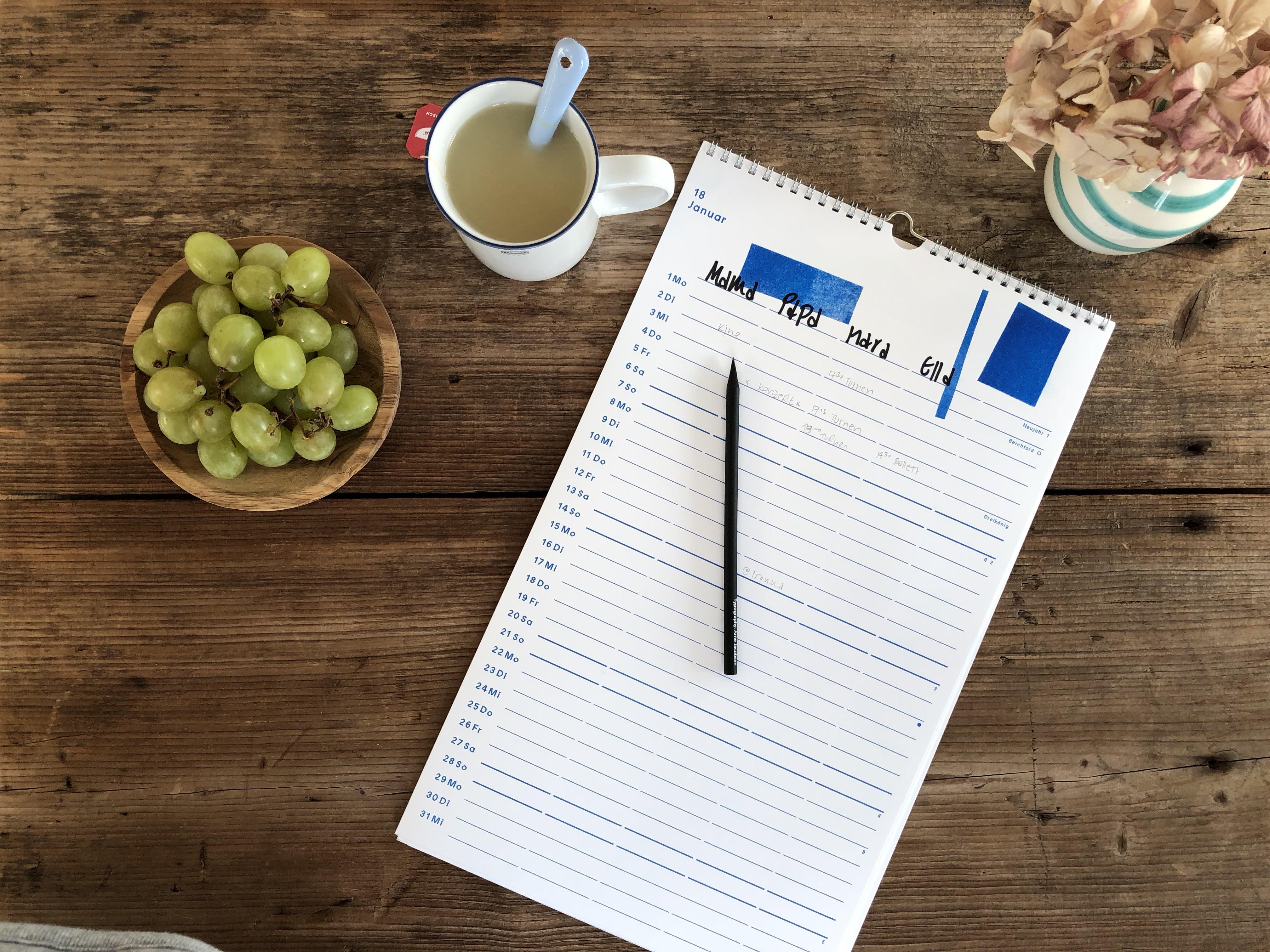 Familienplaner, Familienkalener, Jahresplaner, Agenda 2018