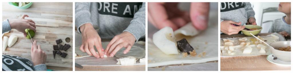 4 Bilder die die Zubereitung von Blätterteighäppchen zeigen