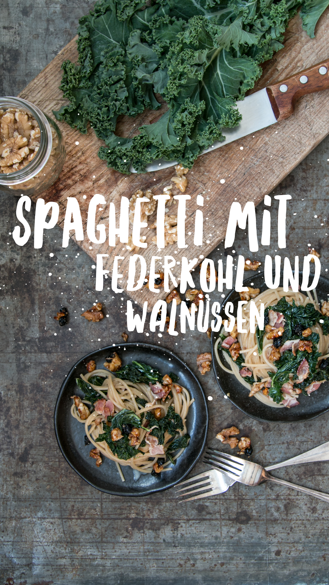 Spaghetti mit Federkohl und Walnüssen Rezep