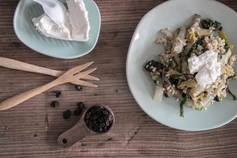Bulgur mit Krautstiel und Pilzen