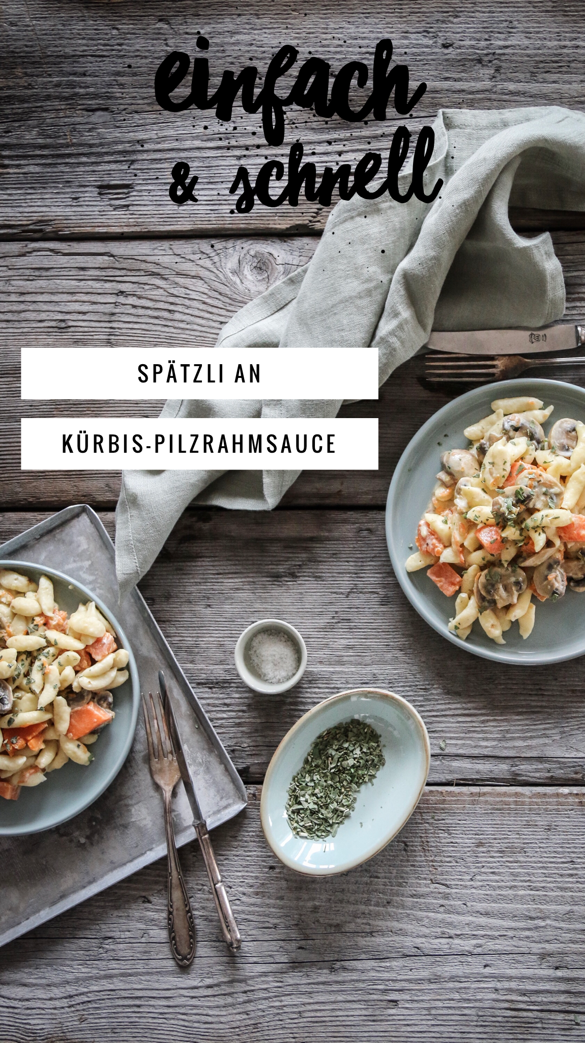 Spätzli an Pilz Kürbis-Sauce Rezept
