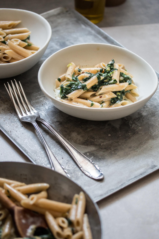 Penne mit Gorgonzola Sauce und Spinat Rezept