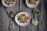Linsensalat mit Randen und Ziegenfrischkäse