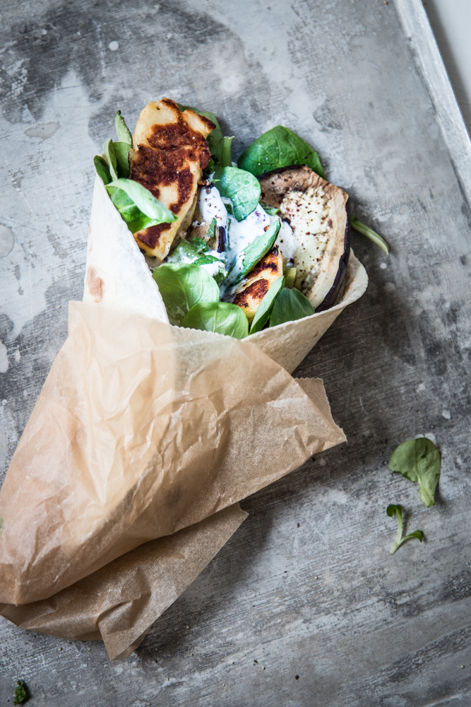 Auberginen und Halloumi Wrap Rezept