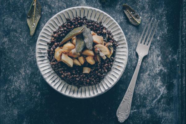 Linsen Rezept mit Salbei und Pilzen